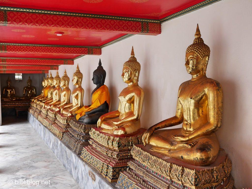 thailande Bangkok Wat Pho alignement de bouddhas